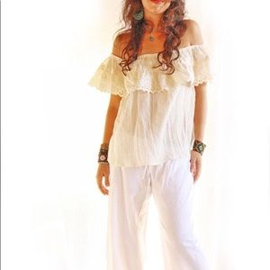 Mexican Blouse Eyelet off shoulder embroiderd